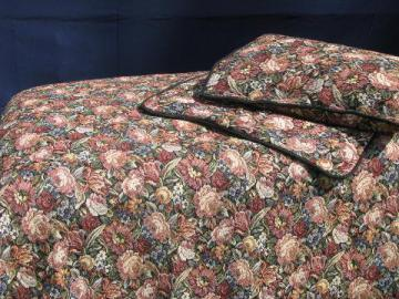 Pier 1 India floral tapestry fabric bed linens, bedspread and shams