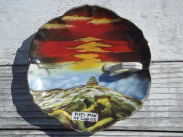 Pikes Peak at Sunrise, vintage hand-painted china plate Made in Japan