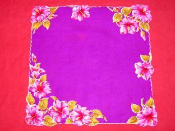 Pink tropical flowers on purple hankie