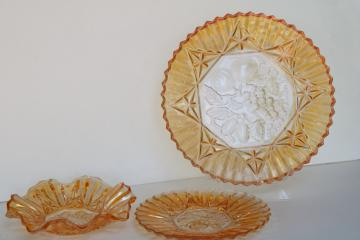 Pioneer fruit pattern vintage pressed glass plate & bowls w/ iridescent marigold color