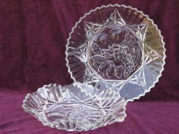 Pioneer vintage fruit pattern glass serving pieces, large bowl and plate