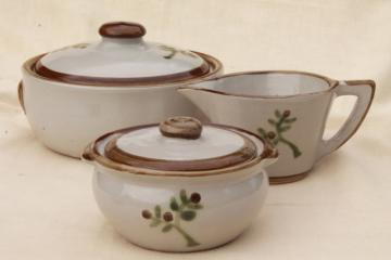 Pleasant Hill Louisville stoneware pottery, tree of life casserole and cream & sugar