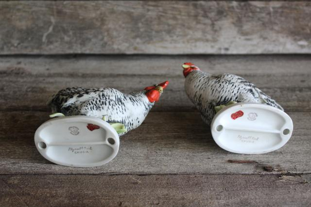 Plymouth barred rock rooster figurines, vintage Lefton china chickens