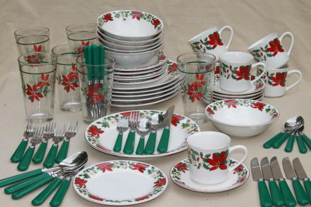 Poinsettia Holiday Gibson china Christmas dishes set for 6 w/ glass tumblers, matching flatware