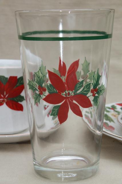 Poinsettia Holiday Gibson China Christmas Dishes Set For 6