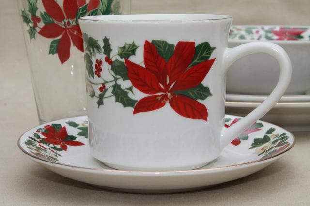Poinsettia Holiday Gibson China Christmas Dishes Set For 6 & Gibson Christmas Dishes Dinnerware Sets - Castrophotos