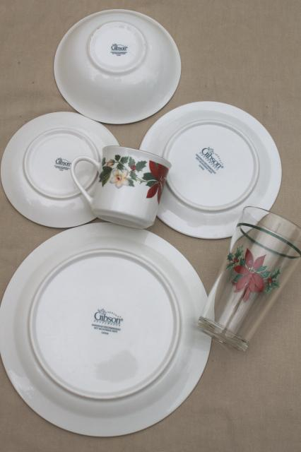 fabulous poinsettia holiday gibson china christmas dishes set for w glass tumblers matching flatware with gibson christmas dishes dinnerware sets & Gibson Christmas Dishes Dinnerware Sets. Lenox U Spode Christmas ...