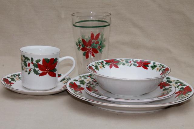 Poinsettia holiday gibson china christmas dishes set for