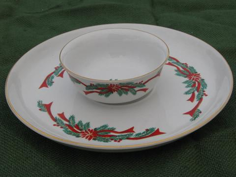 Poinsettia and ribbons Christmas chip and dip set, Fairfield/Tienshan
