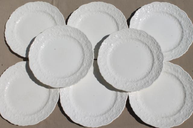 Pope Gosser Rose Point vintage embossed floral border china plates plain antique white creamware & Pope Gosser Rose Point vintage embossed floral border china plates ...
