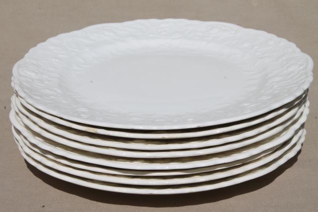 Pope Gosser Rose Point vintage embossed floral border china plates plain antique white creamware & Pope Gosser Rose Point vintage embossed floral border china plates ...