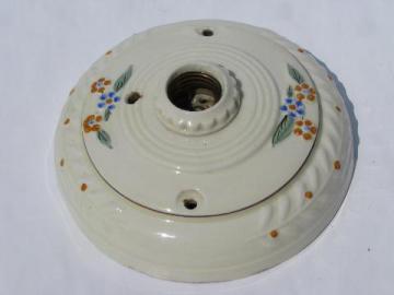 Porcelier ironstone china, antique electric ceiling light fixture, 1920s vintage