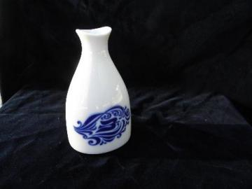 Porsgrund china blue & white porcelain bottle vase, Varefakta pattern