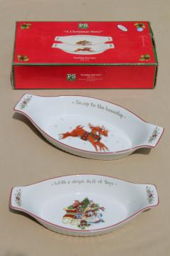 Portmeirion Studio Christmas Story holiday nesting gratin dishes w/ Santa Claus