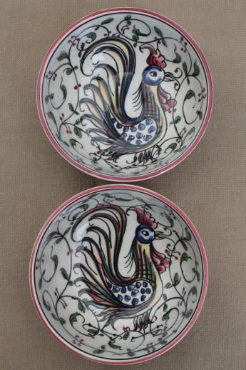 Portugal hand-painted pottery bowls & candle holders w/ folk art roosters