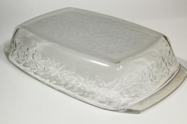 Princess House Fantasia floral glass oven ware, large baking pan casserole