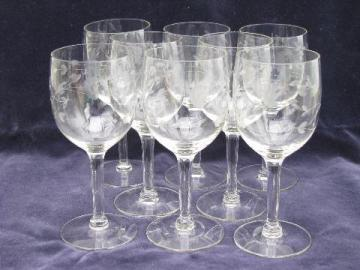 Princess House Heritage floral etched glass wine glasses, set of 8