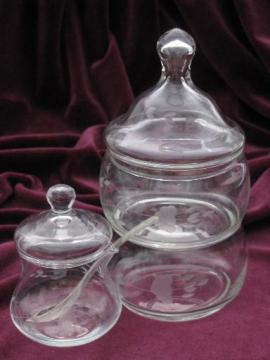 Princess House heritage mustard pot condiment jar and stack dishes w/ lid