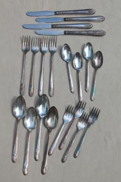 Princess pattern Crown silverware, vintage silverplate flatware luncheon set for 4