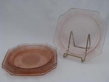 Princess pattern old pink depression glass dinner plates set of 4, vintage Anchor Hocking