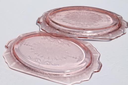 Princess pink depression glass 1930s vintage Anchor Hocking platters & bowls