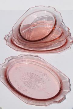 Princess pink depression glass 1930s vintage Anchor Hocking platters & bowls