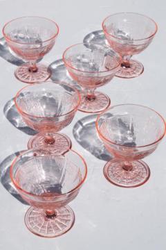 Princess pink depression glass 1930s vintage Anchor Hocking sherbet dishes set