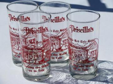 Priscilla's Little Red Tole House advertising, lot of glass tumblers