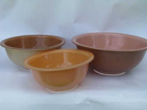 Pyrex - Corning, retro clear bottom colored glass mixing bowls nest