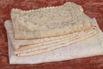 Quaker lace cotton lace tablecloths, shabby cottage chic vintage linens lot