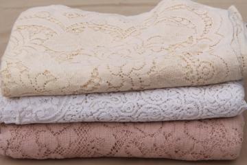 Quaker lace cotton lace tablecloths, shabby cottage chic vintage linens lot