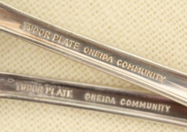 Queen Bess Oneida Tudor plate silverplate flatware, vintage silverware lot