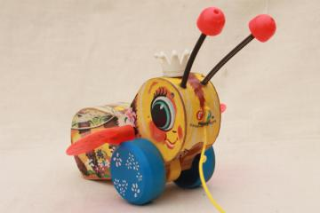 Queen Buzzy Bee 1960s vintage Fisher Price wood pull toy, cute display decor Queen Bee
