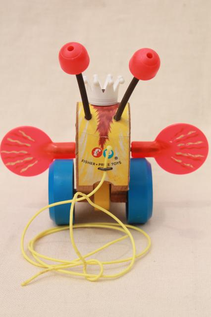 Queen Buzzy Bee 1960s Vintage Fisher Price Wood Pull Toy