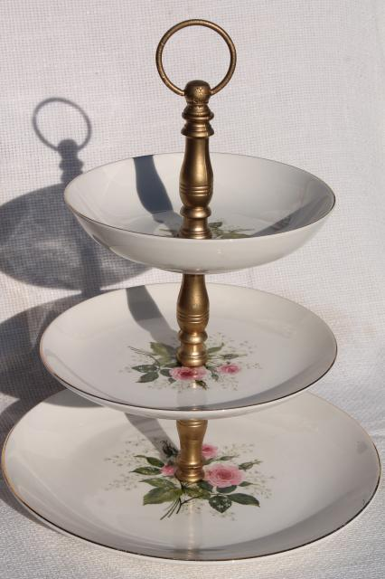Queenu0027s Rose vintage Royal china tiered plate cake stand pink roses u0026 babyu0027s breath & Queenu0027s Rose vintage Royal china tiered plate cake stand pink roses ...