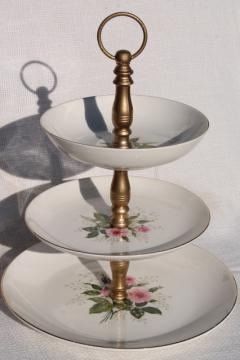 Queen's Rose vintage Royal china tiered plate cake stand, pink roses & baby's breath