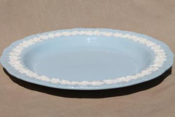 Queen's ware Wedgwood china lavender blue w/ cream embossed grapes round platter or chop plate