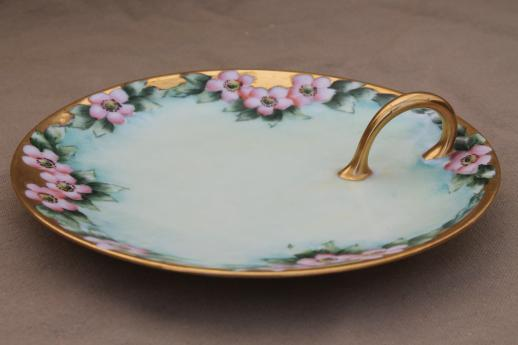 R S Germany antique hand-painted porcelain lemon server, china plate with handle