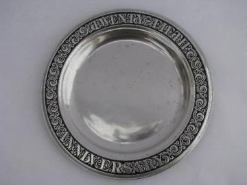 RWP mark, vintage Wilton Armetale pewter plate, 25th anniversary