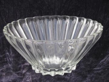Rachel star pattern, vintage clear glass Anchor Hocking salad or punch bowl