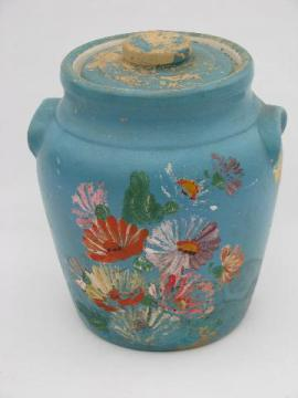 Ransburg hand painted flowers stoneware cookie jar crock