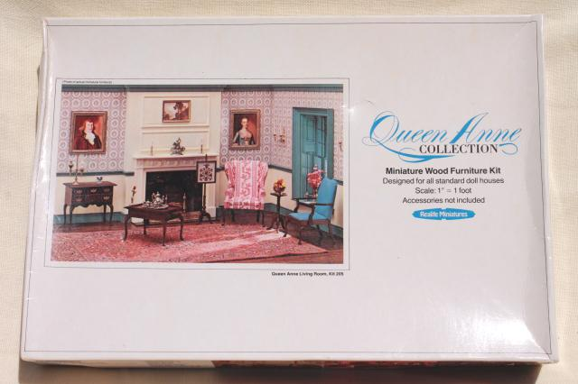 Lovely Realife Miniatures 70s Vintage Dollhouse Furniture Kits, Queen Anne  Collection