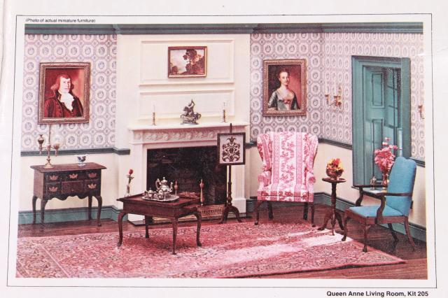 miniatures 70s vintage dollhouse furniture kits, Queen Anne collection
