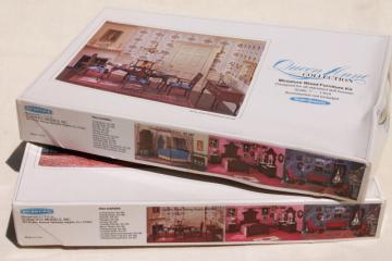 Realife miniatures 70s vintage dollhouse furniture kits, Queen Anne collection