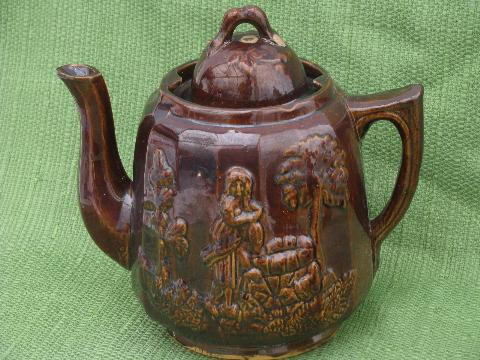 Rebecca At The Well Coffee Amp Tea Pot 1840s Antique Yellow