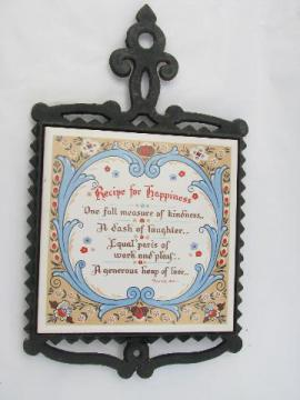 Recipe for Happiness vintage tile / cast iron kitchen trivet, Berggren