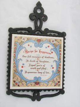Recipe for Happiness vintage tile / cast iron kitchen trivet, Berggren