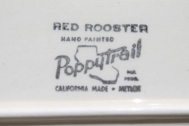 Red Rooster platter, vintage Metlox Poppytrail California pottery for country kitchen