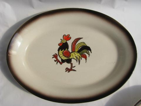 & Red Rooster vintage Metlox Poppy Trail pottery dishes lot