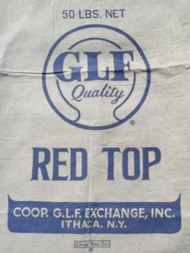 Red Top vintage clover seed cotton grain bag, old farm primitive graphics